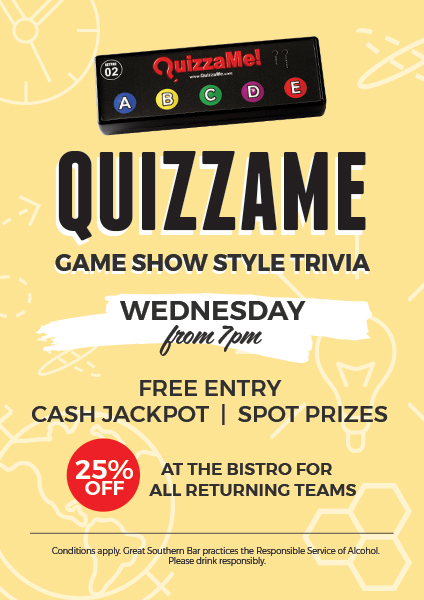 Weekly Quizzame Trivia - Great Southern Bar