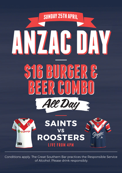 Anzac Day $16 Burger & Beer Combo - Great Southern Bar
