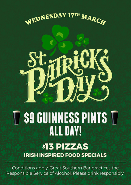 St Patricks Day Food & Drink Special - Great Southern Bar