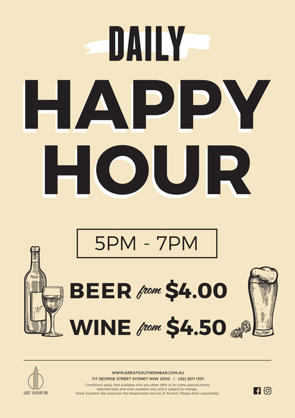Daily Happy Hour | Great Southern Bar