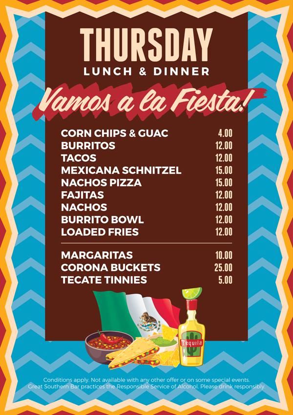 Mexican Lunch & Dinner Special | Great Southern Bar
