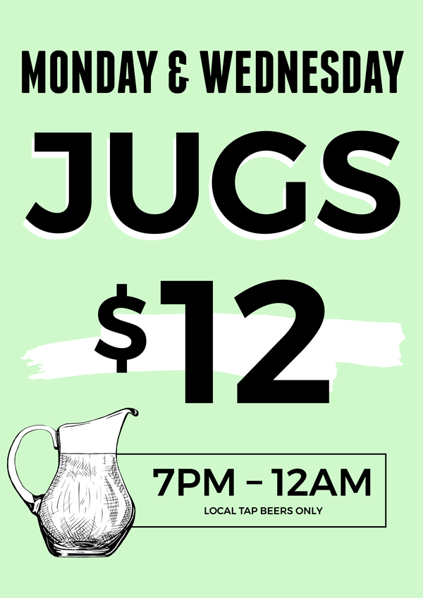Monday & Wednesday Jug Specials | Great Southern Bar