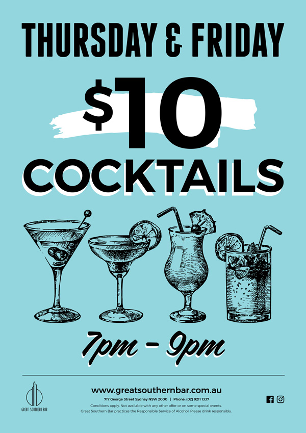 Weekly Cocktail Specials | Great Southern Bar